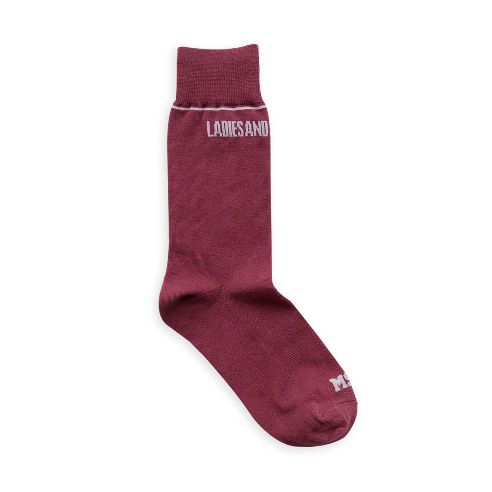 MSMR Plain Slim Socks Wine