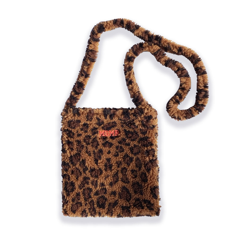 Leopard Small Fleece Cross Bag Brown